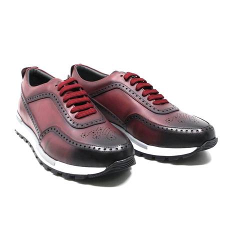 Perforated Toe Sneaker // Burgundy (US: 7)