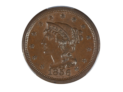 photo of 1856 Braided Hair Large Cent PCGS Certified MS62BN by Touch Of Modern