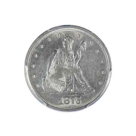1875 Seated Liberty Twenty Cent Piece PCGS Certified AU58