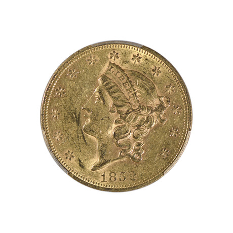 1852 Liberty Head $20 Gold Piece, Type 1, PCGS & CAC Certified AU55