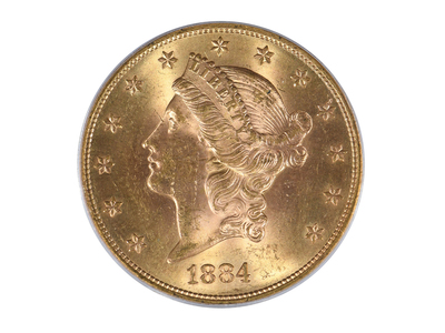 photo of 1884-S Liberty Head $20 Gold Piece, Type 3, PCGS & CAC Certified MS63 by Touch Of Modern