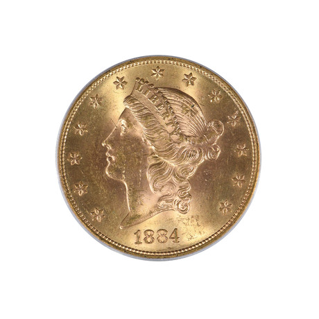 1884-S Liberty Head $20 Gold Piece, Type 3, PCGS & CAC Certified MS63