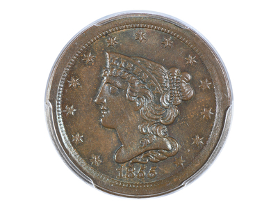 photo of 1855 Braided Hair Half Cent PCGS Certified MS64BN by Touch Of Modern