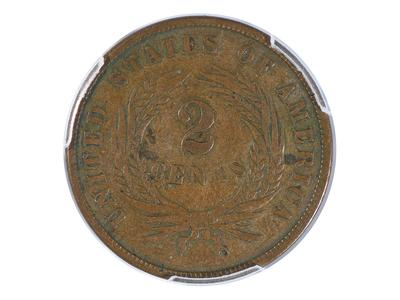 photo of 1864 Two Cent Piece, Small Motto, PCGS Certified VF25 by Touch Of Modern