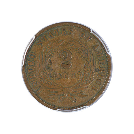 1864 Two Cent Piece, Small Motto, PCGS Certified VF25
