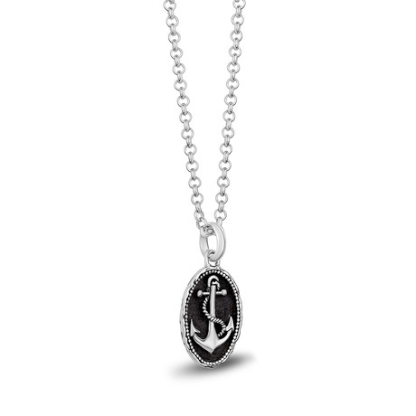 Sterling Silver Oval Anchor Necklace // 24""
