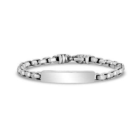"""Rectangle Box Link ID Bracelet // Silver (X-Small // 7"""")"""