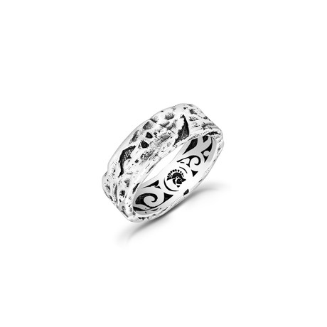 Sterling Silver Lava Rock Band Ring // 7mm (Size 8)