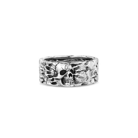 Lava Rock Sunken Skull Head Ring // Silver (Size 8)