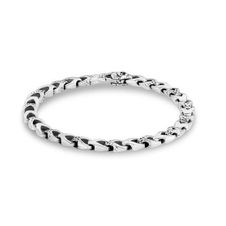 """Hammered V-Link Bracelet // Silver (X-Small // 7"""")"""