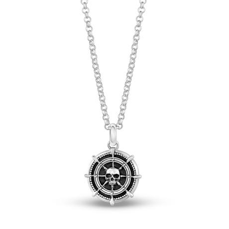 Ship Wheel Skull Head Necklace // Silver + Black