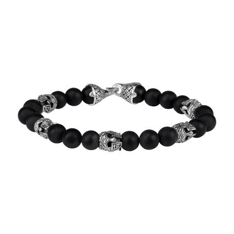 "Onyx Bead Knight Bracelet // Silver + Black (Small // 7.5"")"