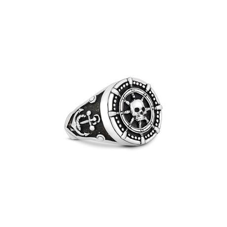 Ship Wheel Anchor Skull Head Ring // Silver (Size 8)