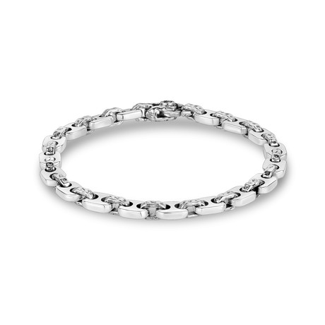 """Hammered Coffee Bean Bracelet // Silver (X-Small // 7"""")"""