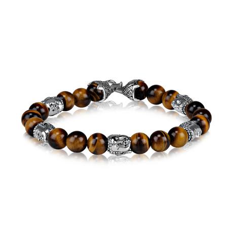 "Tiger Eye Bead Buddha Bracelet // 8mm // Brown + Silver (Small // 7.5"")"