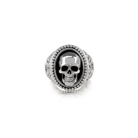 Skull Head Signet Ring // Silver (Size 8)