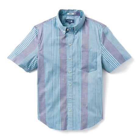 Pacific Paradise Stripe Tailored Shirt // Aqua (XS)