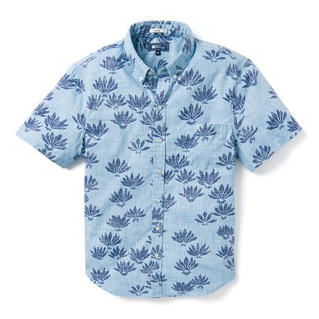 Falling Fan Flowers Tailored Shirt // Niagara Blue (XS)