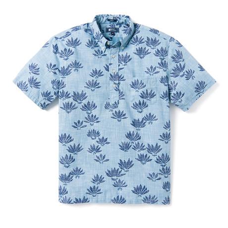 Falling Fan Flowers Shirt // Niagara Blue (XS)