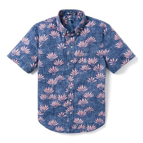 Falling Fan Flowers Tailored Shirt // Blue (XS)
