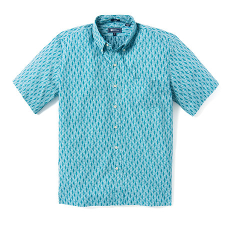 Tapa Waves Button Front // Turquoise (XS)