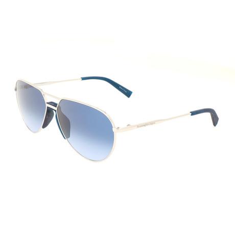 Men's EZ0096 Sunglasses // Shiny Palladium + Gradient Blue