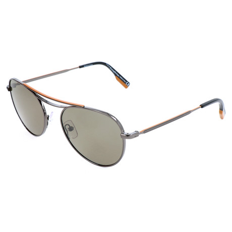 Men's EZ0103 Sunglasses // Shiny Gunmetal + Green