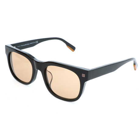 Men's EZ0101-F Sunglasses // Shiny Black + Brown