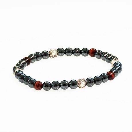 Dell Arte // Hematite + Tiger Eye Bracelet // Black + Red