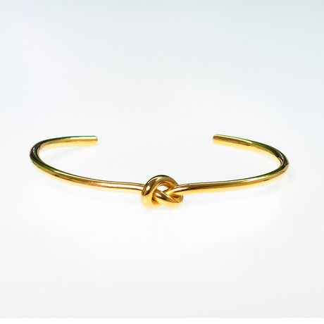 Dell Arte // Stainless Steel Knot Bangle // Gold