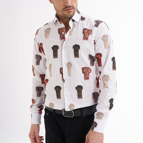 Lucio Button-Up Shirt // White + Multicolor (S)