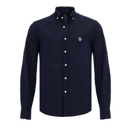 Ric Linen Button-Up Shirt // Navy (S)