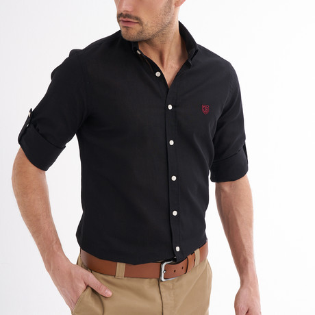 Ric Linen Button-Up Shirt // Black (S)