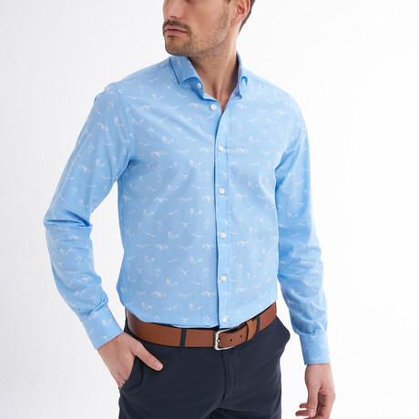 Tommaso Button-Up Shirt // Baby Blue + White (S)