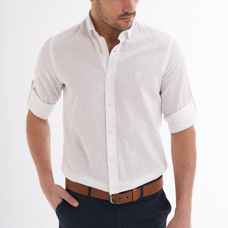 Ric Linen Button-Up Shirt // White (S)