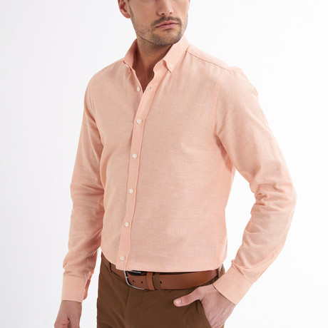 Ric Linen Button-Up Shirt // Salmon (S)