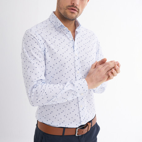 Umberto Button-Up Shirt // Baby Blue + Navy (S)