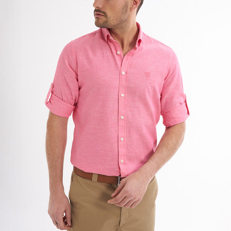 Ric Linen Button-Up Shirt // Pink (S)