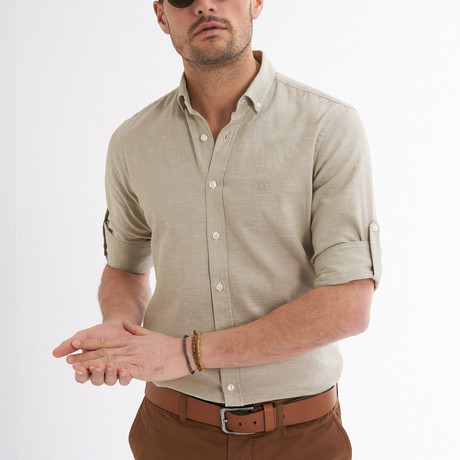 Ric Linen Button-Up Shirt // Khaki (S)