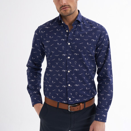 Tommaso Button-Up Shirt // Navy + White (S)