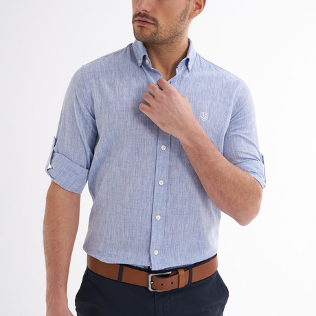 Ric Linen Button-Up Shirt // Baby Blue (S)