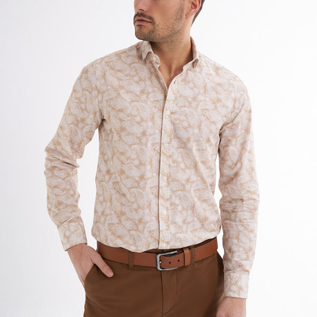 Lucca Button-Up Shirt // Beige + White (S)