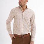 Lucca Button-Up Shirt // Beige + White (L)