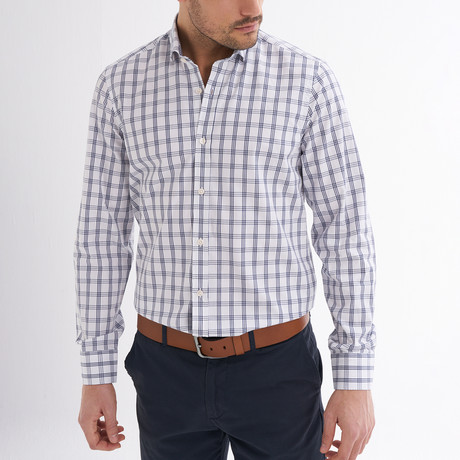 Maximo Button-Up Shirt // White + Navy (S)