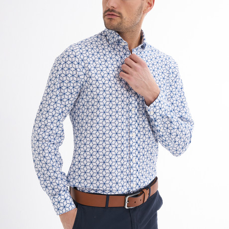 Fabien Button-Up Shirt // White + Navy (S)