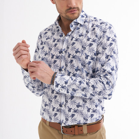 Fico Button-Up Shirt // White + Navy (S)