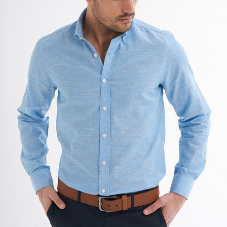 Ric Linen Button-Up Shirt // Light Blue (S)