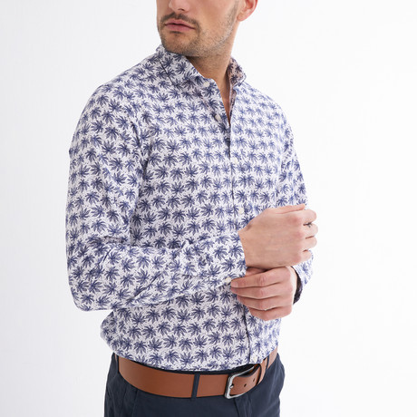 Gavino Button-Up Shirt // White + Navy (S)