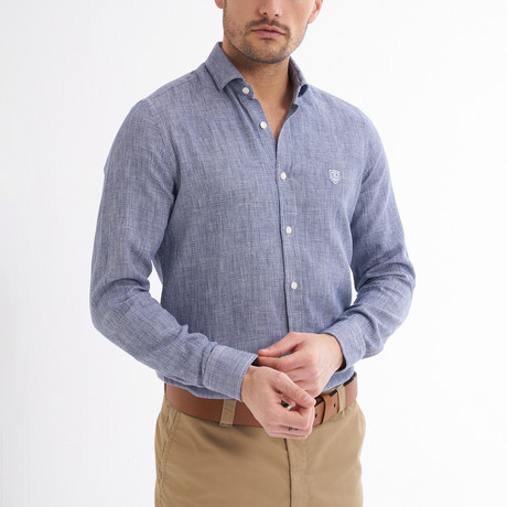 Paulo Linen Button-Up Shirt // Navy (S)