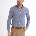 Paulo Linen Button-Up Shirt // Navy (L)